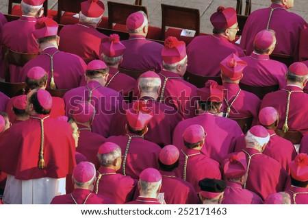 ROME, VATICAN CITY, OCTOBER 11, 2005: bishops and cardinals attending the funerals of Pope John Paul II, in Vatican City. - stock photo