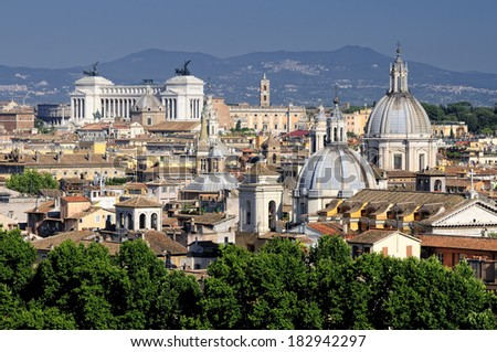 Rome - view from Castel sant Angelo to Museo nazionale Romano - view from the the old military castle or fortification towards the national museum of Rome  - stock photo