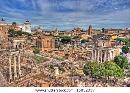 Rome - view over the historic city (palatine) - stock photo