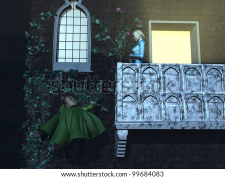 Romeo climbs by the light of the moon to the balcony where a smiling Juliet waits - stock photo