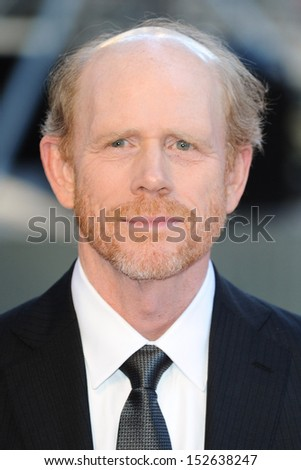 "Ron Howard arriving for the ""Rush"" World premiere at the Odeon Leicester Square, London. 02/09/2013 - stock photo"