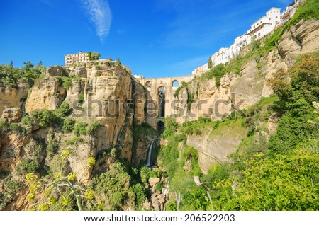 Ronda bridge and canyon, Ronda, Malaga, Andalusia, Spain. - stock photo
