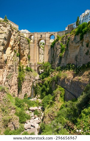 Ronda new bridge; vertical shot from west (Andalusia, Spain) - stock photo