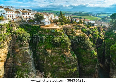Ronda, old town cityscape on the Tajo Gorge. Andalusia. Spain - stock photo