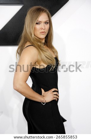 Ronda Rousey at the Los Angeles premiere of 'Furious 7' held at the TCL Chinese Theatre IMAX in Hollywood, USA on April 1, 2015.  - stock photo