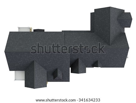 Roof big house, top view. 3D graphic isolated object on white background - stock photo