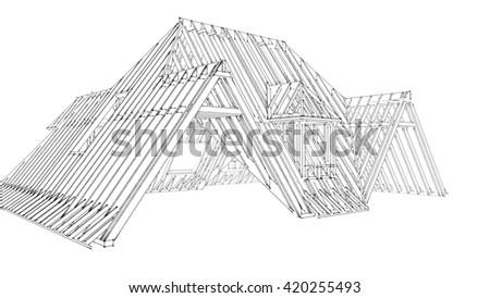 roof construnction 3D rendering - stock photo