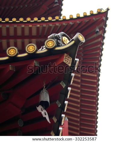 Roof details and textures of the Buddha Tooth Relic Temple and Museum, Chinatown, Singapore - stock photo