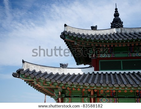 Roof details of a wooden pavilion in Hwaseong Fortress in Suwon South Korea. This fortress  is an UNESCO world heritage site. - stock photo
