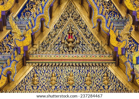 Roof gable in Thai style - stock photo