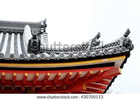 Roof of kiyomizu-dera temple (UNESCO World Heritage) in Kyoto, Japan. - stock photo
