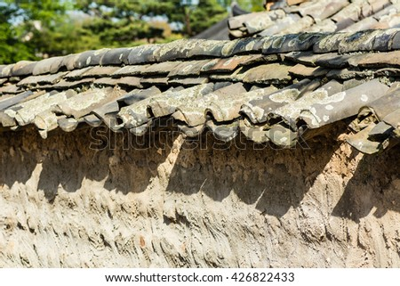 Roof of Korean traditional houses in Gyeongju, South Korea. - stock photo