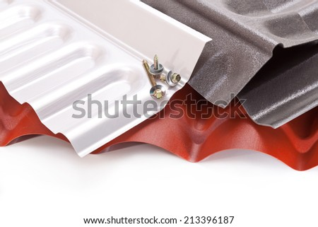 Roof of plastic greenhouses, gazebos, sheds and screws for mounting - stock photo