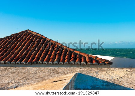 Roof of the fort Reis Magos in Natal, Brazil - stock photo