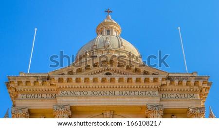 Roof of the Xewkija Church dedicated to St John the Baptist in Gozo, Malta. - stock photo