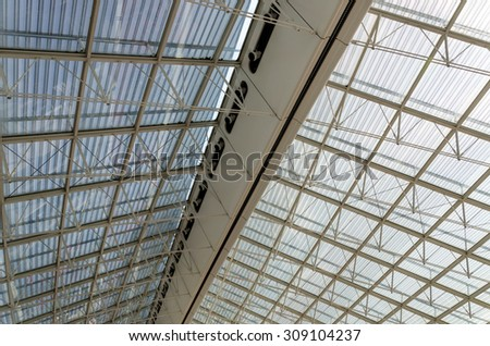 Roof Structure Detail of Charles de Gaulle airport in Paris, France - stock photo