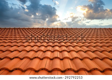 roof tiles and sky sunlight - stock photo