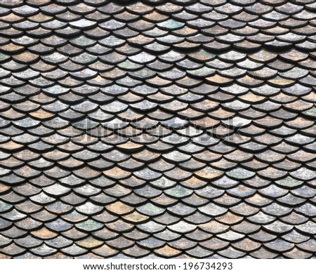 Roof tiles old of classic Buddhist temple - stock photo