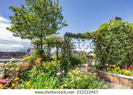 roof top garden with plants and flowers - stock photo