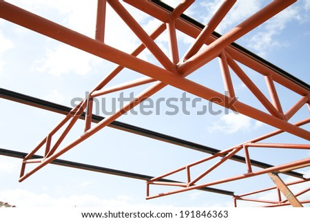 roof  under construction in site - stock photo