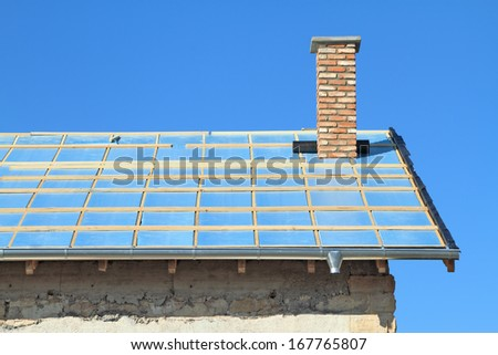 Roof under construction. Thermal insulation - stock photo