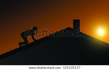 Roof works - stock photo