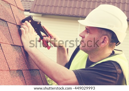 Roofing work - stock photo