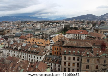 Roofs of Geneva and the Alps from Cathedral - stock photo