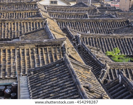 Roofs of Korean traditional houses at Bukcheon village in Seoul, South Korea - stock photo