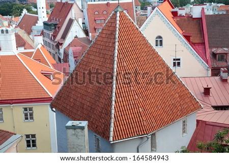 Roofs of old Tallinn, Estonia - stock photo