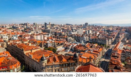 Roofs of Porto from the Clerigos tower church. - stock photo