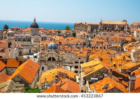 Roofs of the buildings on the Old Town seen from the Walls of Dubrovnik - stock photo