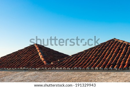 Roofs of the fort Reis Magos in Natal, Brazil - stock photo
