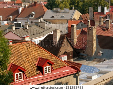 roofs of the old town of Tallinn, Estonia - stock photo
