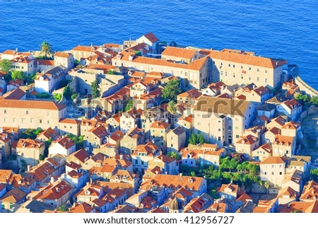 Roofs on the old houses in Dubrovnik, Croatia - stock photo