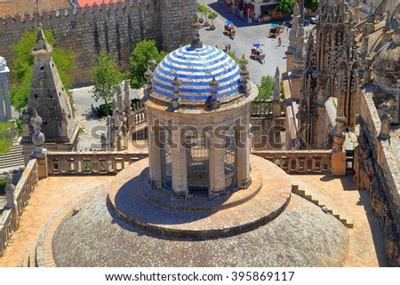 Rooftop detail above the Cathedral of Saint Mary of the See (Seville Cathedral), Seville, Andalusia, Spain - stock photo