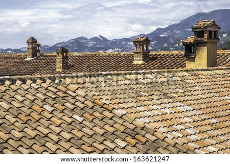 Rooftop of an old building - stock photo
