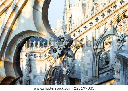 Rooftop of Duomo cathedral, Milan, Italy - stock photo