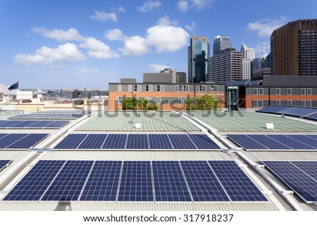 Rooftop solar panels - stock photo