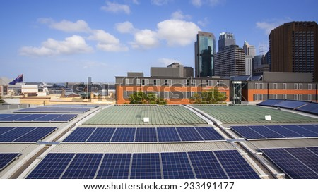 Rooftop solar panels in Sydney, Australia - stock photo