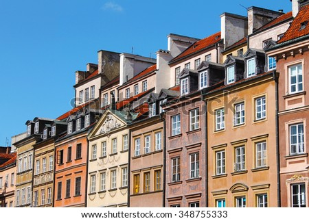 Rooftops of Buildings surounding Warsaw's Old Town Market Square or Rynek Starego Miasta. Barss Side or Strona Barssa - stock photo