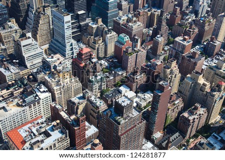 Rooftops of Manhattan in New York City - stock photo