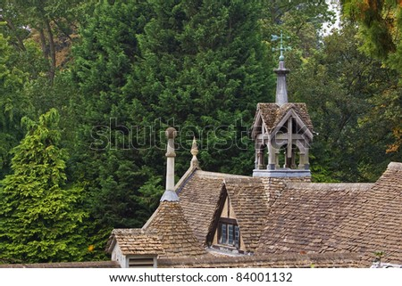Rooftops of nineteenth century stables in Wiltshire UK - stock photo
