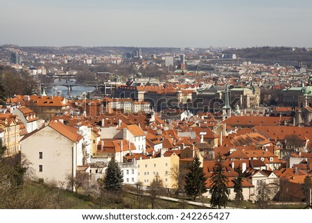 Rooftops of old Prague from high view point - stock photo