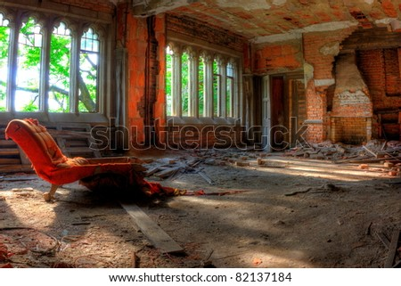 Room and chair. Abandoned City Methodist Church in Gary, Indiana. - stock photo