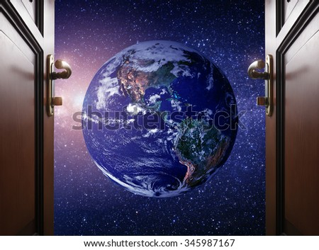 room door to Planet earth from the space. Some elements of this image furnished by NASA - stock photo