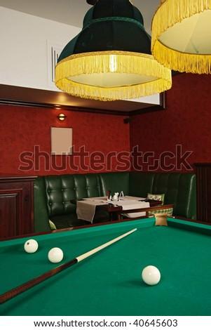 Room for game in billiards - stock photo