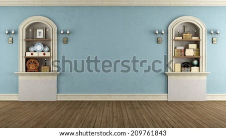 Room in classic style with arched niches with vintage objects - rendering - stock photo