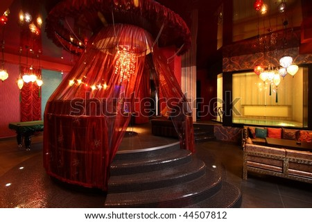 Room in east style for hookah smoking - stock photo