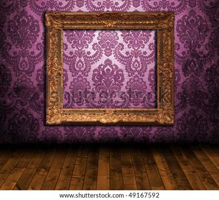 Room interior - ornate frame on the wall - stock photo